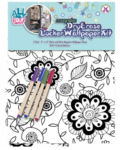 """Black And White """"Color Me Daisy"""" - Magnetic Locker Wallpaper Kit W/ Four Markers"""
