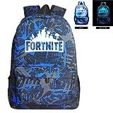 Fortnite Backpack Battle Royale School Bag Luminous Backpack for Teen Boys and Girls Travel Hiking (Color: Irregular Blue, Tamaño: 12.2*7.0*17.7Inch)
