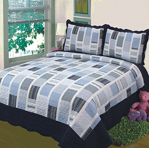 Great Features Of Fancy Collection 3pc Bedspread Bed Cover White Navy Squares (California King)
