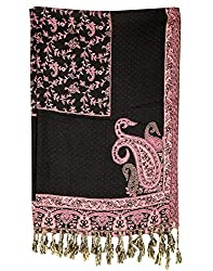 Indian Viscose Stole Black 80x28 Paisley Self Weaved shawl By Rajrang