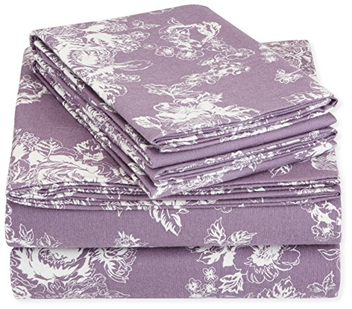 AmazonBasics Printed Lightweight Flannel Sheet Set - Queen, Floral Lavender