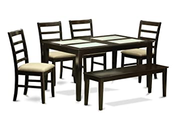 East West Furniture CAPF6G-CAP-C 6-Piece Dining Table Set with Bench