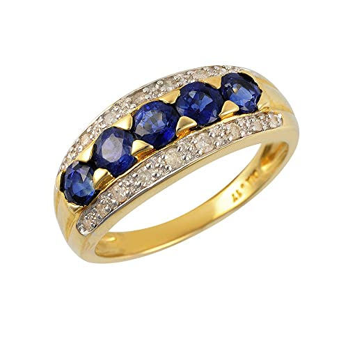 Ivy Gems 9ct Yellow Gold Light Blue Sapphire and Diamond Half Eternity Ring
