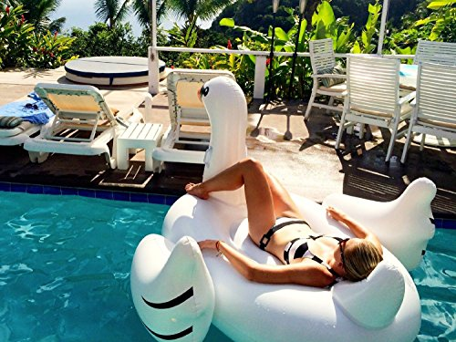 Marljohns giant rideable swan inflatable float toy for Colchonetas de piscina