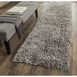 Safavieh New Orleans Shag Collection SG531-8080 Grey Polyester Runner, 2 feet 3 inches by 6 feet (2\'3\