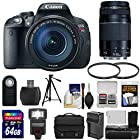 Canon EOS Rebel T5i Digital SLR Camera & EF-S 18-135mm IS STM & 75-300mm III Lens with 64GB Card + Flash + Grip + Battery & Charger + Tripod + Case Kit