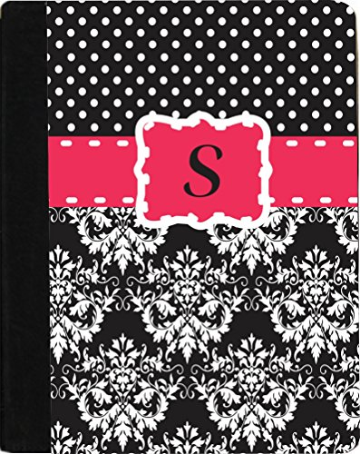 "Rikki Knighttm Rikki Knight Initial ""S"" Pink Black Damask Dots Monogrammed Design Kindle Fire Hd 8.9"" (2012 Version) Notebook Case Black Faux Leather (Measures 9.5"" X 6.5"") front-617492"