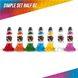 7 Bottle Simple Color Set - World Famous Tattoo Ink - 1/2oz.