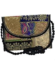 "Arisha Kreation Co Indian Ethnic Banzara Heavy Work On Front & Back With 23.5"" Sling Bag(Black)"