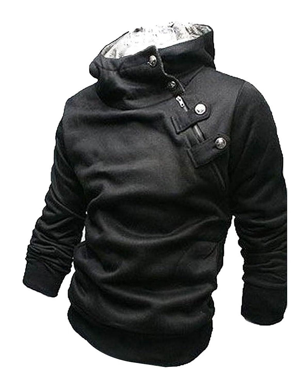 Womdee Herren Mode Kaninchen Pelzkragen Schräg Reißverschluss Winter Dünne Fleecejacke Mantel mit Womdee Accessorie jetzt kaufen