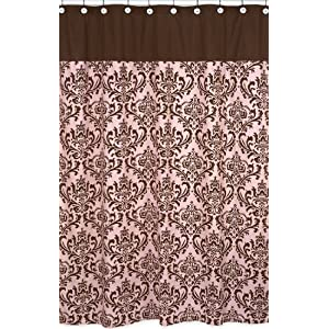 Pink and Chocolate Brown Damask shower curtain