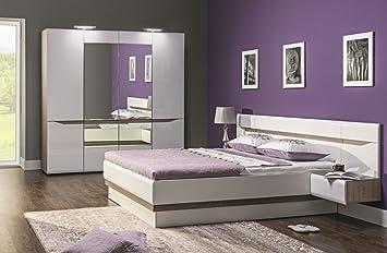 Schlafzimmer komplett LINN weiß hochglanz Set A Schrank 4-tur Soft-Close Bett 180x200 Nachtkonsolen NEU