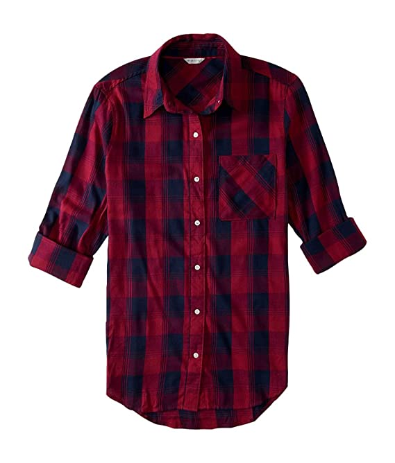 Aeropostale Women's Long Sleeve Boyfriend Plaid Woven Shirt
