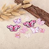 20 x Pink Assorted Butterfly Fabric Motifs Iron on Stick on Sew on Embroidery Patch