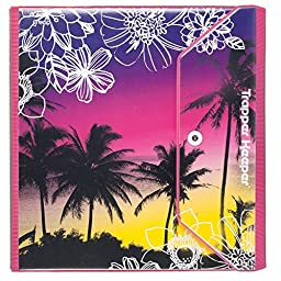 Mead Trapper Keeper Round Ring Binder, 1.5 Inch, Fashion Palm Trees Doodle Design, Plum (73429)