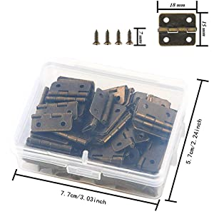 VIPMOON 50 Pieces Antique Bronze Mini Hinges Retro Butt Hinges with 200 Pieces Replacement Hinge Screws, with Plastic Contain Box (Color: Bronze)
