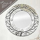 IndianShelf Handmade Vintage Decorative New Design Clear Glass Wood And Iron Round Venetian Mirror 48 Inches