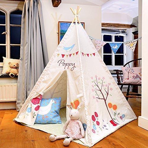 Kinder Tipi - Die Gracie Garten - Entworfener, Bedruckt & handgefertigt in Großbritannien - Personalisiert, Innen