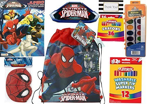 [Spider-Man Coloring Activity Kit - Coloring Book, Crayons, Markers, Paint & Spider-Man Sling Bag] (Amazing Spider Man Costumes 360)
