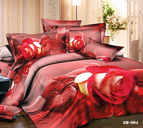 Queen King Size 100% Cotton 7-Pieces 3D Wedding Red Roses Red Floral Prints Fitted Sheet Set With Rubber Around Duvet Cover Set/Bed Linens/Bed Sheet Sets/Bedclothes/Bedding Sets/Bed Sets/Bed Covers/ Comforters Sets Bed In A Bag (King) front-687005