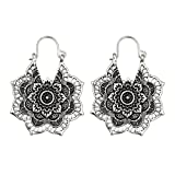 MatureGirl Antique Silver Gypsy Indian Tribal Ethnic Hoop Dangle Mandala Earrings Boho (Sliver) (Color: Sliver, Tamaño: 0.8mm)