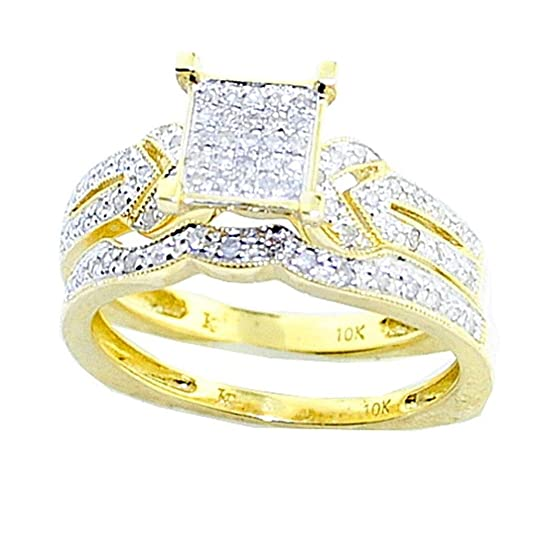 Rings-MidwestJewellery.com Women's 10K Gold Bridal Wedding Rings Set Euro Shank 0.3Cttw Diamonds