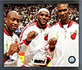 "LeBron James, Dwyane Wade, & Chris Bosh Miami Heat 2013 NBA Championship Rings Photo (Size: 12"" x 15"") Framed"