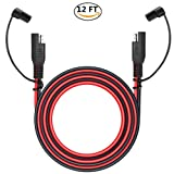 12V Sae to Sae 2 Pin Power Connector Plug,12 Foot Quick Disconnect Harness For Motorcycle Automotive Sae Power Extension Cable,18 AWG Gauge + Dust Cap