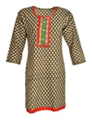 Global Women's Cotton Straight Kurta (GW35Beige40015, Beige, 40)
