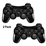 PS3 Controller XFUNY 2 Pack Wireless Bluetooth 6-Axis Controllers Dualshock 3 Gamepad for PlayStation 3 with Charging Cable (Black) (Color: 2Pcs Black)