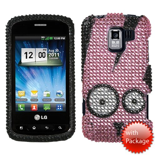 Mybat Lgvs700Hpcprdm341Wp Premium Dazzling Diamante Bling Case For Lg: Vs700 (Enlighten/ Gelato Q), Vm701 (Optimus Slider), Ls700 (Optimus Slider) - 1 Pack - Retail Packaging - Caffeinated Rabbit