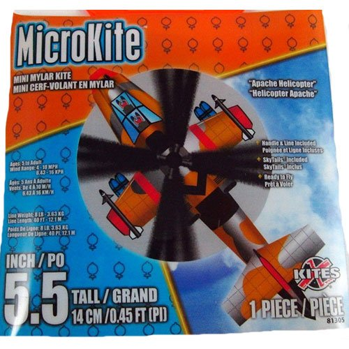 X Kites Microkite Mini Mylar 5.5inches Kite: Apache Helicopter