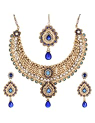 Shahenaz Jewellers 24 Ct Gold Plated Bridal Jewellery Set With CZ And Marquis Stones For Women - B00R2IONAG