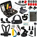Vanwalk 16 in 1 Accessories Kit for Gopro Hero 4 Session Black Silver Hero+ LCD 3+/3/2 Camera and Sjcam Sj4000 Sj5000 - Chest Belt Strap / Head Strap / Floating Grip / Selfie Stick / Carry Case