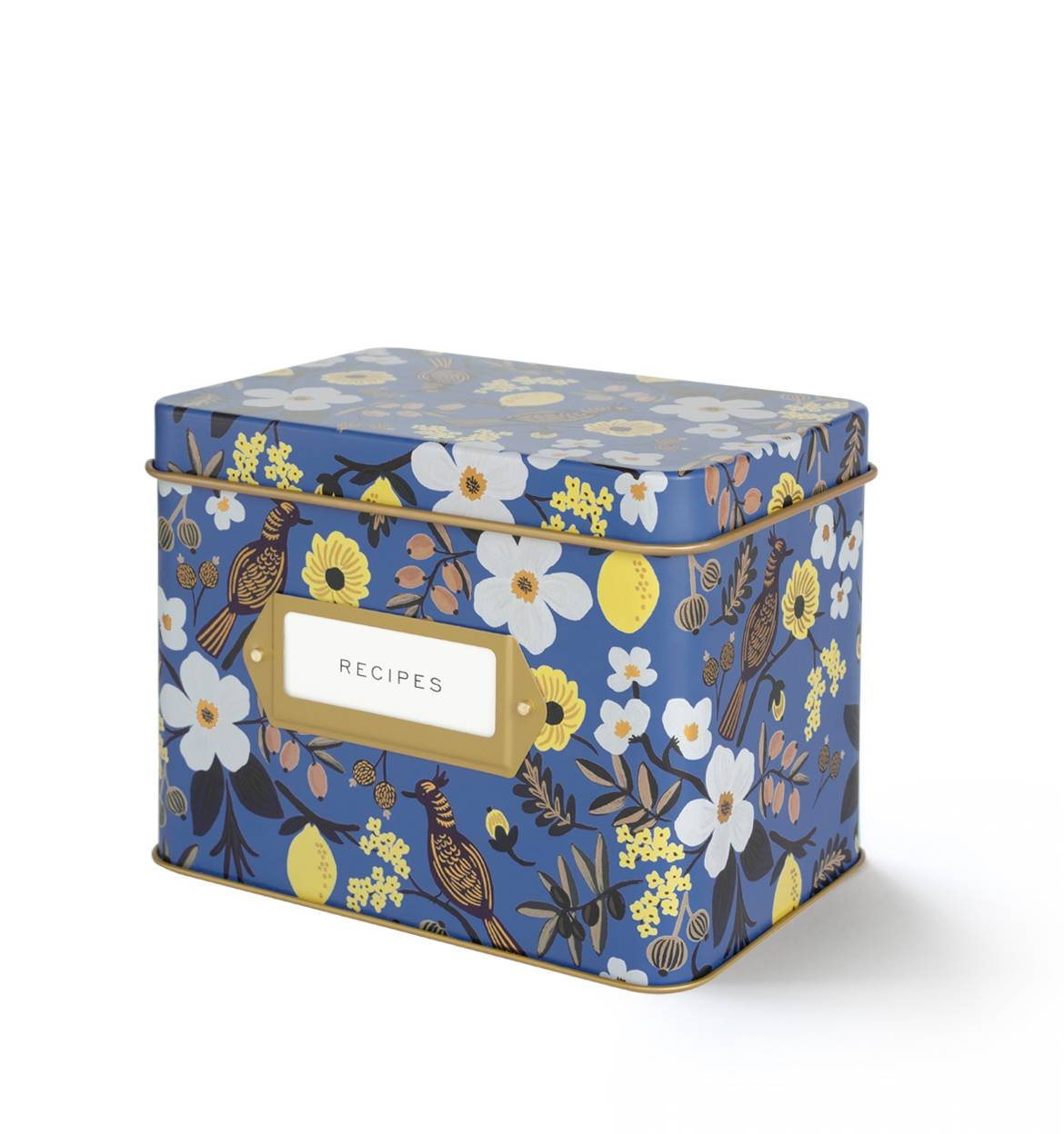 Rifle Paper Co. Capri Blue Recipe File Box With 12 Dividers and 24 Recipe Cards 0