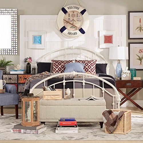 White Antique Vintage Metal Bed Frame in Rustic Wrought Cast Iron Curved Round Headboard and Footboard Victorian Old Fashioned Bedroom Furniture Kit Mattress Bedding Not Included (Queen) 1