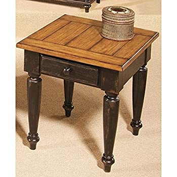 Progressive Furniture 44542-04 Country Vista End Table, Antique Black and Oak