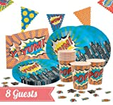 Ginger Ray Deluxe Party Kit for 8 Guests - Pop Art Superhero Party