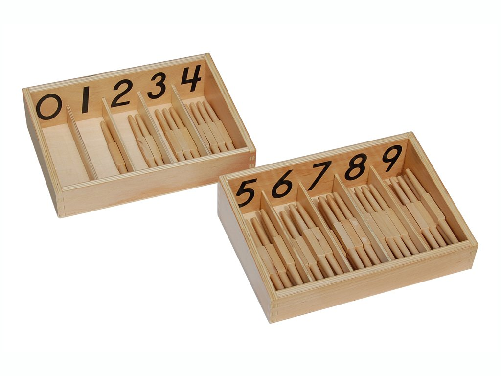 Montessori 'Count-to-ten Box' Numbered Spindle Box with 45 Spindles