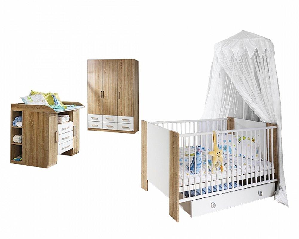 Babyzimmer Samira 3-tlg. Set in Eiche Sonoma/Abs. Weiss