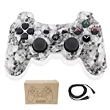 Kolopc Wireless Bluetooth Controller for PS3 Double Shock - Bundled with USB Charge Cord (White Skull) (Color: WhiteSkull)