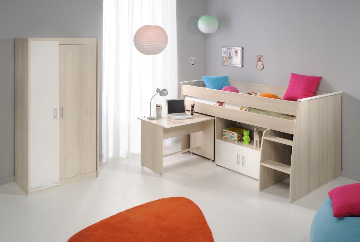 Parisot Kinderzimmermöbel Charly 5 Kinderzimmermöbel in der Farbe Akazie / Weiss Melamin günstig bestellen