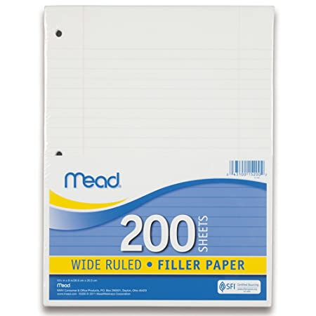 Mead Filler Paper, Loose Leaf Paper, Wide Ruled, 200 Sheets/Pack