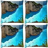 Snoogg Ocean On The Mountain Side Pack Of 4 Digitally Printed Cushion Cover Pillows 14 X 14 Inch