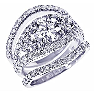 GIA Certified 4.09 Carat Natural Round Brilliant Cut Diamond Engagement Matching Wedding Bands 3 Piece Bridal Set 18K White Gold