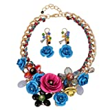 HoBST Floral Flower Statement Necklace and Earring Set Choker Chunky Gold Plated Chain Pendant Jewelry (Blue Pink) (Color: Blue Pink)