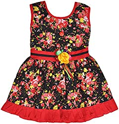 Be BeBo Girl's Cotton Dress (846, Red, 1 Year )