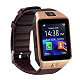 Qiufeng DZ09 Smart Watch Smartwatch Bluetooth Touchscreen Sweatproof Phone with Camera TF/SIM Card Slot for Android and iPhone Smartphones for Kids Girls Boys Men Women(Gold) (Color: Gold)