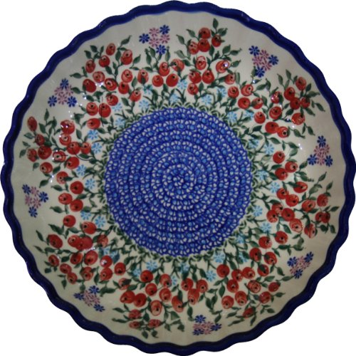Polish Pottery Ceramika Boleslawiec 1212/282 Royal Blue Patterns 4-Cup 9-7/8-Inch Diameter Pie Baker, Small, Red Berries And Daisies front-612353