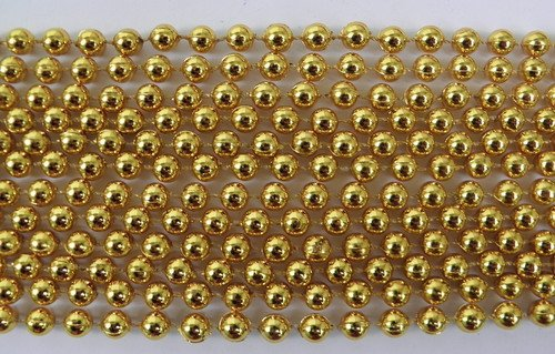 33 inch 07mm Round Metallic Gold Mardi Gras Beads - 6 Dozen (72 necklaces)